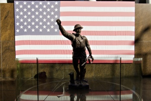 CHICAGO, IL - Soldier Statue with American Flag at Soldier Field. Photo Credit: SB Nation