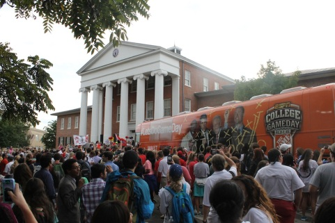 ESPN's College Gameday crew is met by a passionate Ole Miss fan base as they arrive on campus October 4, 2014. Photo credit: Amelia Camurati and Emily Newton
