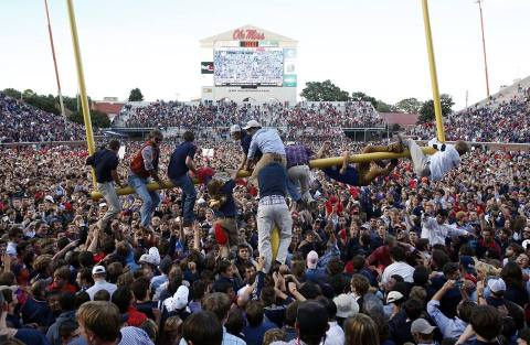 Fun times like this serve to give the Ole Miss community fun memories for years to come. Photo credit: Robert Sutton/ Tuscaloosa News via AP